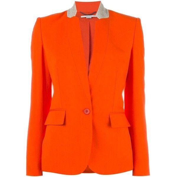 Stella McCartney Fleur Jacket (19.844.640 IDR) ❤ liked on Polyvore featuring outerwear, jackets, wool jacket, stella mccartney jacket, stella mccartney, long sleeve jacket and orange jacket