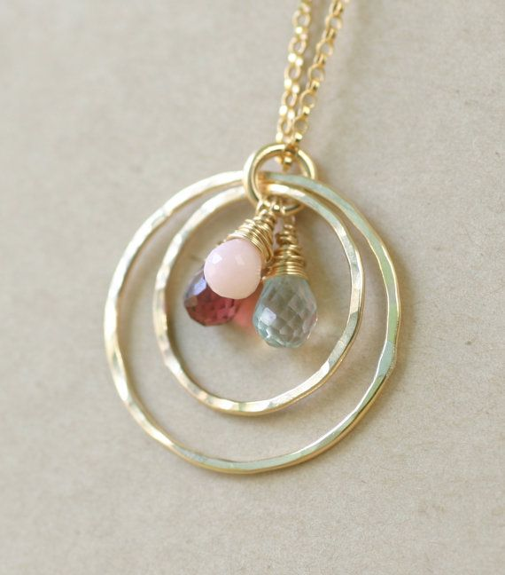 Gold mother necklace gold birthstone necklace by ILoveHoneyWillow