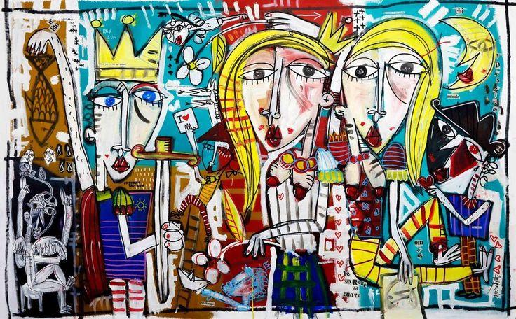 le sorelle del cuore , quadri , amicizia , regalo matrimonio sposi arte luna art