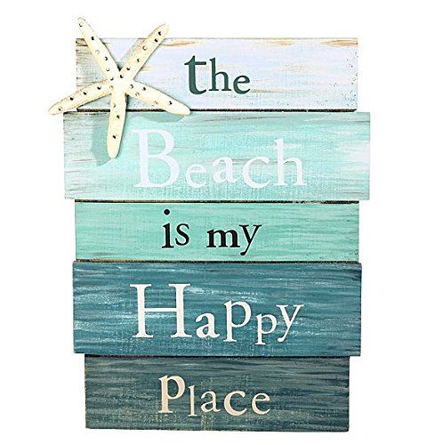 """""""The Beach is My Happy Place"""" Aquamarine Plankboard with Starfish Decorative Sign - 12-in x 9-in Grassland Roads http://www.amazon.com/dp/B00LABJ6L2/ref=cm_sw_r_pi_dp_ByB1tb09GXVSRF5A"""