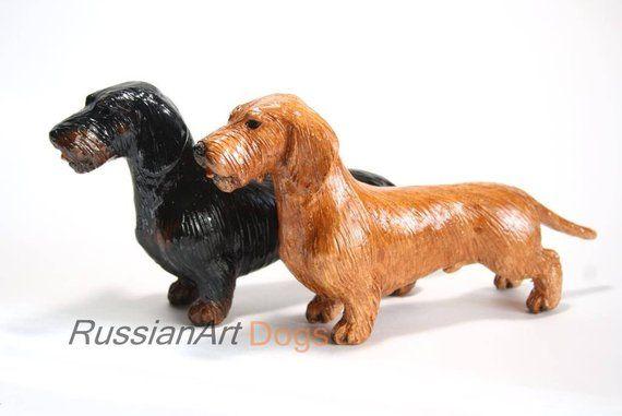 Wirehaired Dachshund Ceramic Figurine Handmade Statue Wonderful