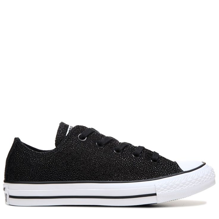 Converse Women's Chuck Taylor All Star Low Stingray Leather Sneakers (Black) - 6.0 M