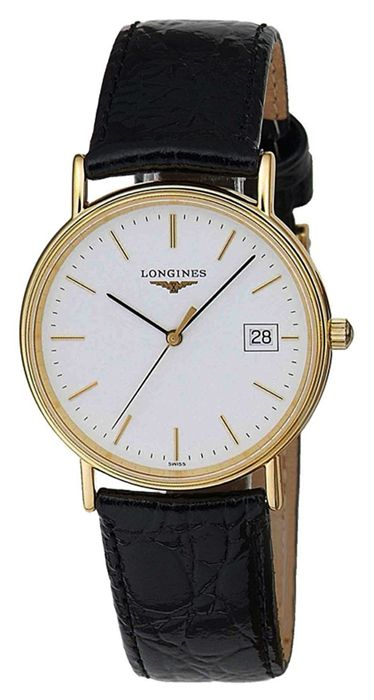 L47202122 longines presence leather strap watch mens longines for Longines leather strap