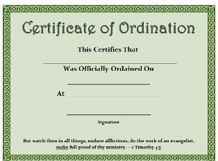 free ordained certificate