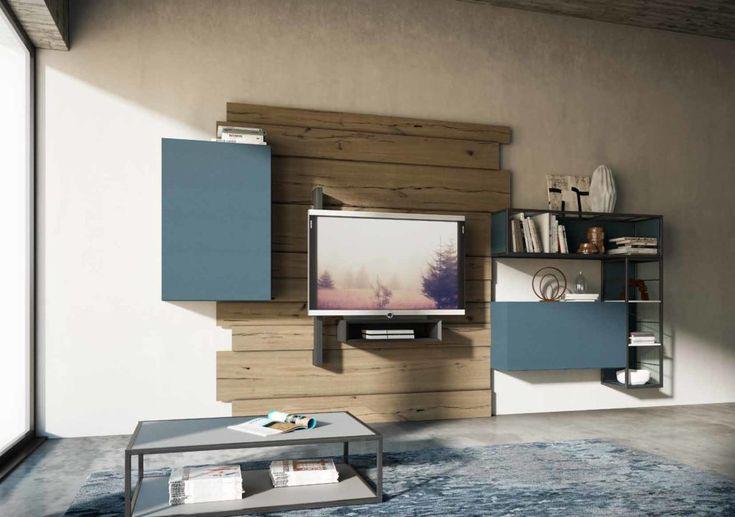 composizione per soggiorno rebel system fimar in legno e laccato opaco con porta tv