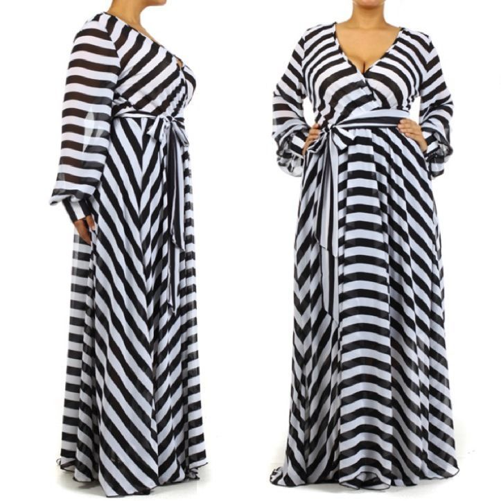Plus size maxi dresses black and white stripe