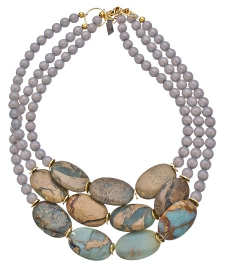 K. Amato Jasper and Gray Triple Beaded Necklace. Love the smooth gray beads with the interesting oval jasper.
