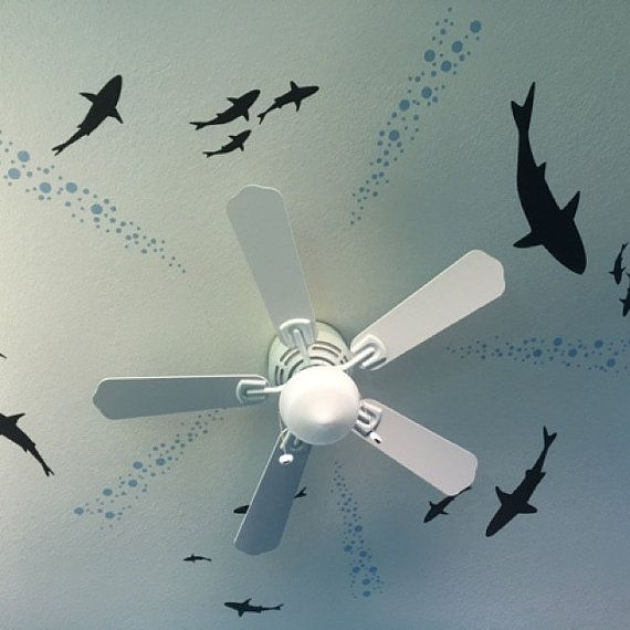 Ceiling Shark Decal From Below Shark Wall by GetCreativeStudios
