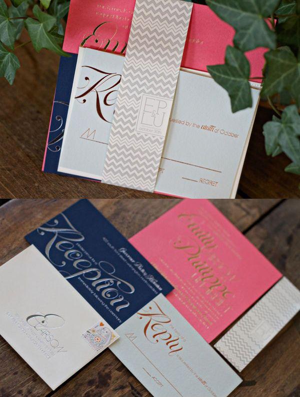 Foil stamped invitations