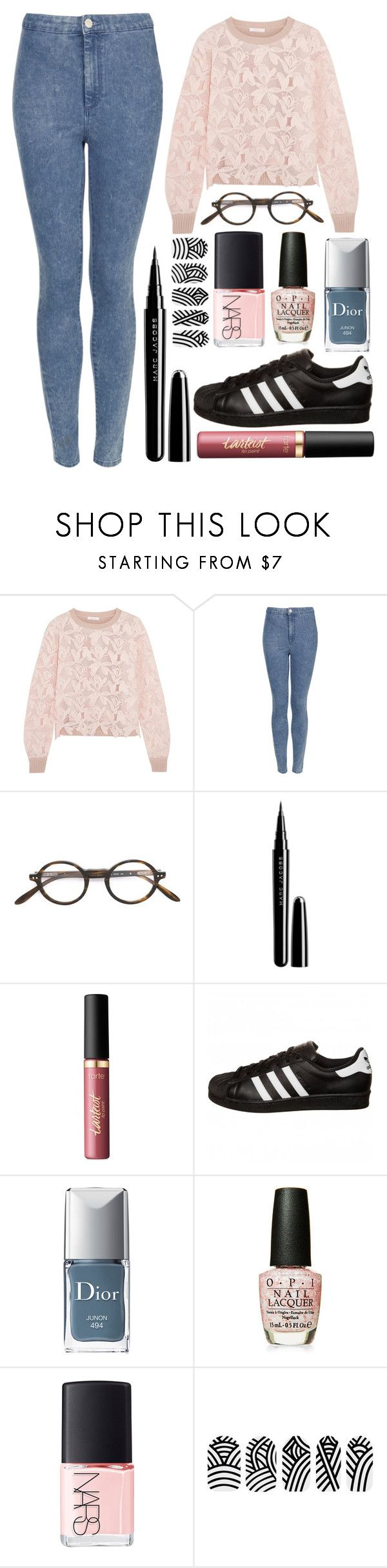 """""""Untitled #1275"""" by cashtonlv on Polyvore featuring See by Chloé, Topshop, Paul & Joe, Marc, tarte, adidas Originals, Christian Dior, OPI and NARS Cosmetics"""