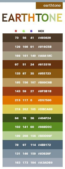 Earth tone color schemes with RGB and HEX color values: