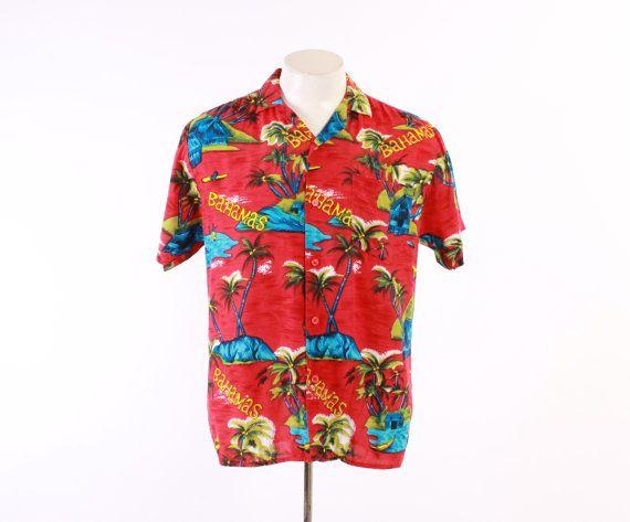 60s Men's Novelty HAWAIIAN SHIRT / 1960s Tropical BAHAMAS Palm Trees Huts Rayon Aloha Rockabilly Shirt #60sfashion #tropicalprint #rockabilly