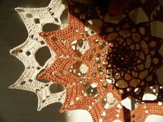 SET of 6  1 Crocheted coaster doily tablecloth by WoolCharm, $16.59