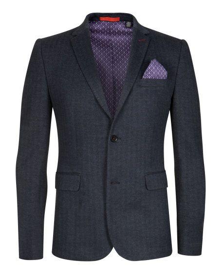 Herringbone blazer - Navy | Jackets & Coats | Ted Baker