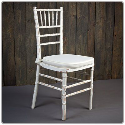 Distressed White Chiavari Chair    Shown With A Tie On Chair Pad Available  In