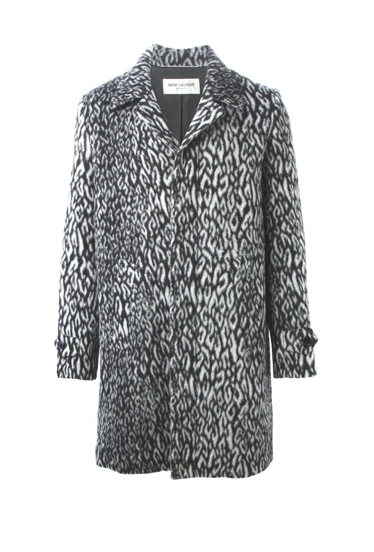 Saint Laurent Babycat Print Leopard Wool Blend Mac Tube Gray Winter Coat │Represented by Harry Styles