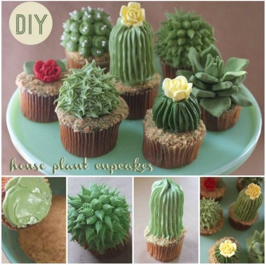 House Plant  Cupcakes, can you just imagine these at a garden party?  Too cute!