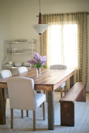 reclaimed timber dining table with single bench seat