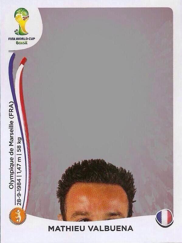 Mathieu Valbuena's World Cup panini sticker