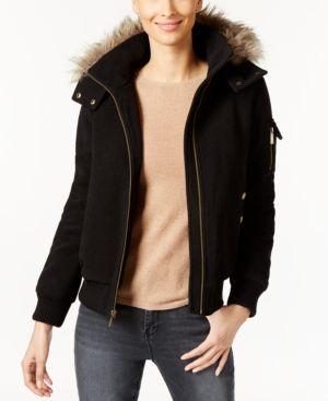 Michael Michael Kors Faux-Fur-Trim Hooded Bomber Jacket - Black XXS