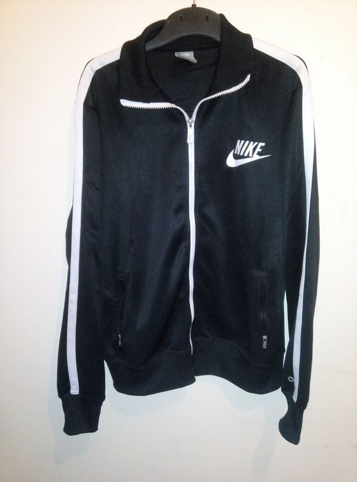 NIKE Black & White Retro Vintage Full Zip Top Jacket Sweatshirt Original Rare M