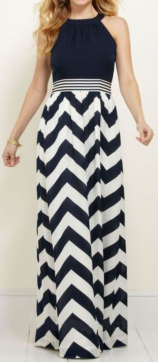Chevron Halter Maxi Dress //