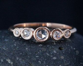 VALENTINE SALE Rose Gold Diamond Ring Rose Cut by lovebyohkuol