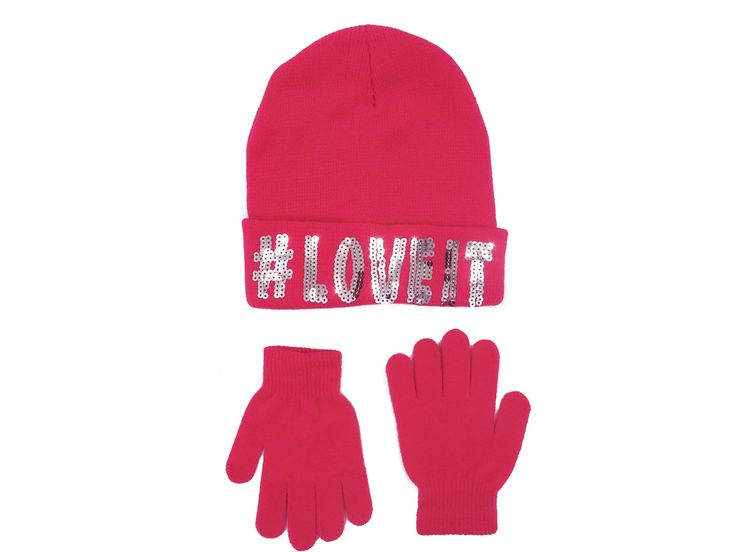Girls Cuffed Faux Fur Pom Pom Beanie with Magic Gloves Set,Pink- Love It,One Size. Includes: Warm Beanie Hat, with hashtag tweet logo, and warm Magic Stretch Gloves;. Great Winter Accessory Set- a Great Value;. Hat: 95% Acrylic, 5% Spandex / Glove: 95% Acrylic, 5% Spandex. Suggested Retail: $24.00. Keep your girls warm, but in style!.