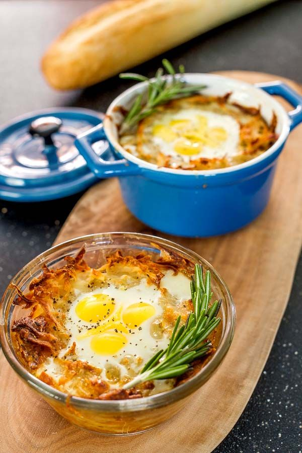 These quail eggs baked in shredded potato and parmesan cheese nests make for the perfect weekend breakfast