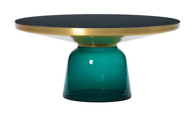 Table basse Bell Coffee / Ø 75 x H 36 cm Vert émeraude / Laiton - ClassiCon