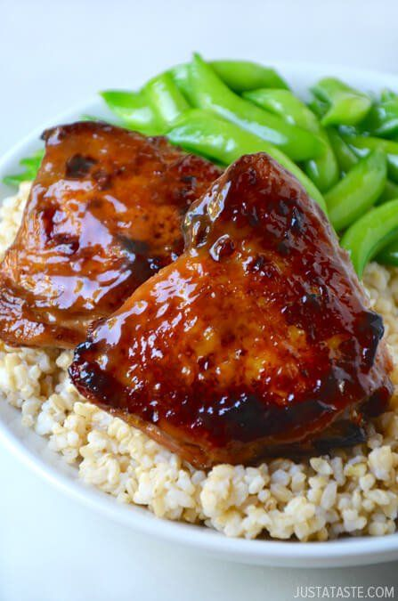 Honey Balsamic Baked Chicken Thighs- This is a keeper! Next time, I may pan fry them to get the skin extra crispy.