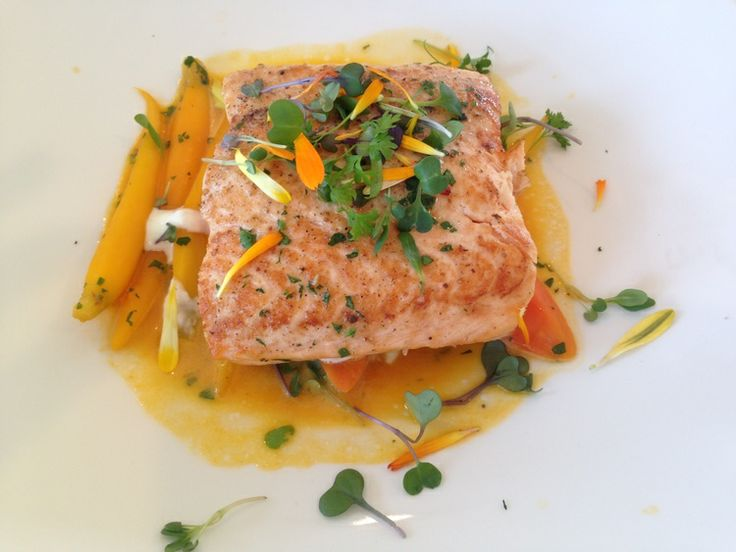 My salmon dish from lunch with Miss Golden Globe Sosie Bacon