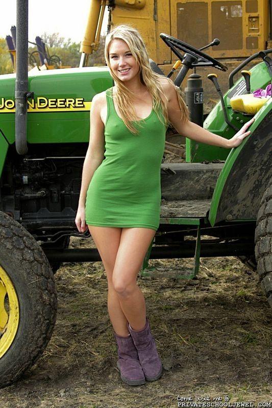 Girl with her John Deere   Girls with Tractors   Pinterest ...