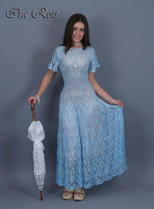 Amazing long blue dress with diagram