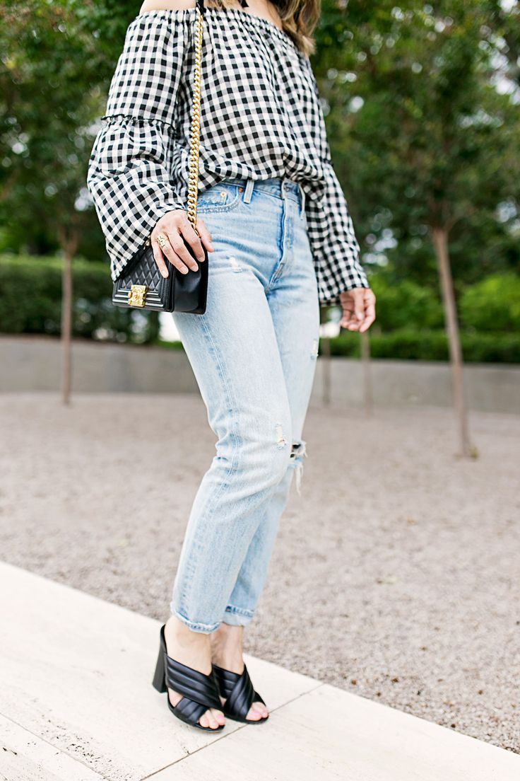 who what wear collection bardot sleeve gingham off the shoulder top with levi's light wash mom jeans, chanel boy bag and gucci webby mules