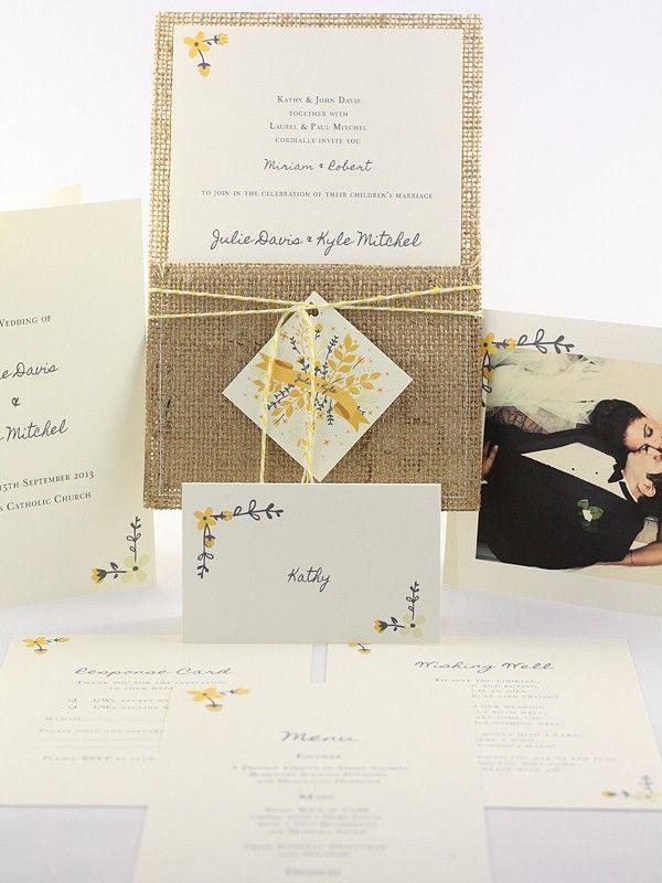 Kiera Collection - Hessian Invitations - Themed Invitations   Red Wax Invitations