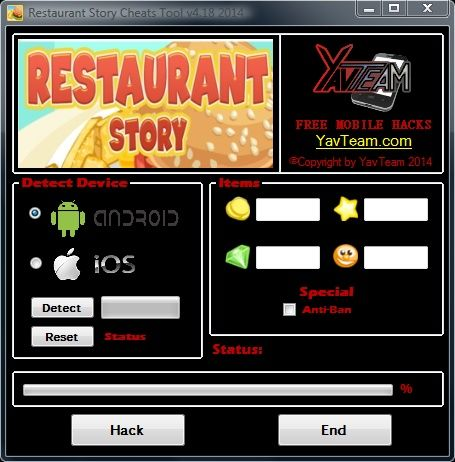 Restaurant Story Cheats Tool v4.18 2014 for Android/iOS. Working without problems. Download here! The Best Cheats only from YavTeam. http://www.yavteam.com/restaurant-story-cheats-tool-v4-18-2014/
