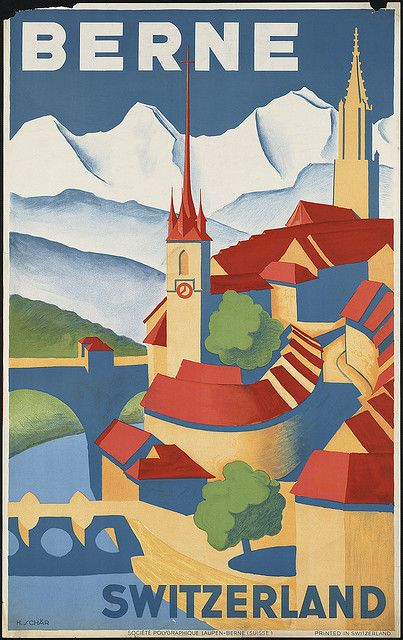 Berne, Switzerland vintage travel poster