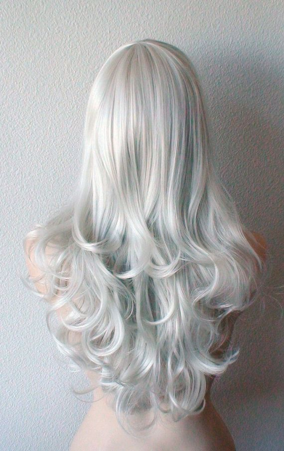 Silver wig. Bright silver color Long wavy/ curly hair by kekeshop