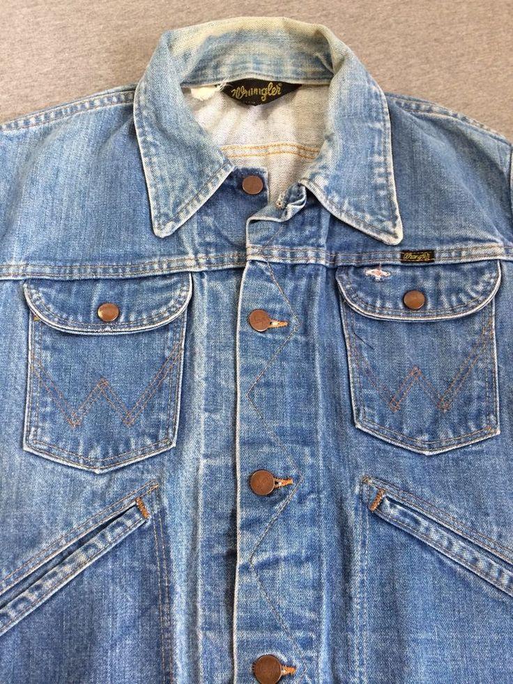 Vintage WRANGLER 80s Denim Jacket Jean Blue USA Trucker Cowboy ...