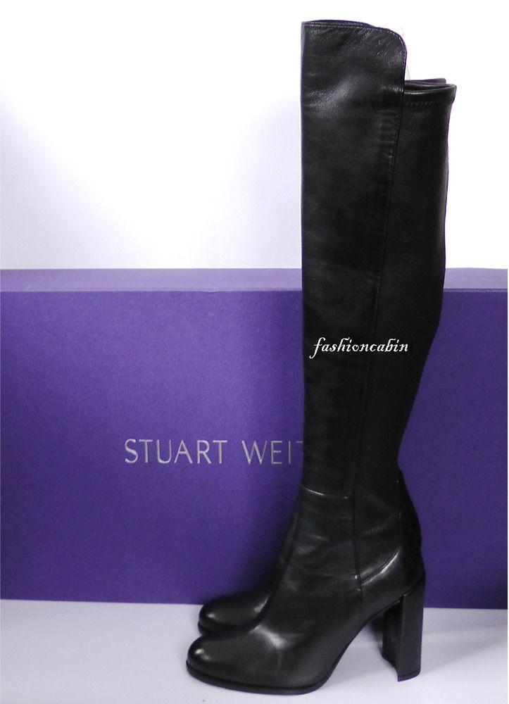 2b4b85767f4 NEW  845 Stuart Weitzman Alljill Stretch Leather Over The Knee Boots~Black~6M   StuartWeitzman  OverKneeBoots