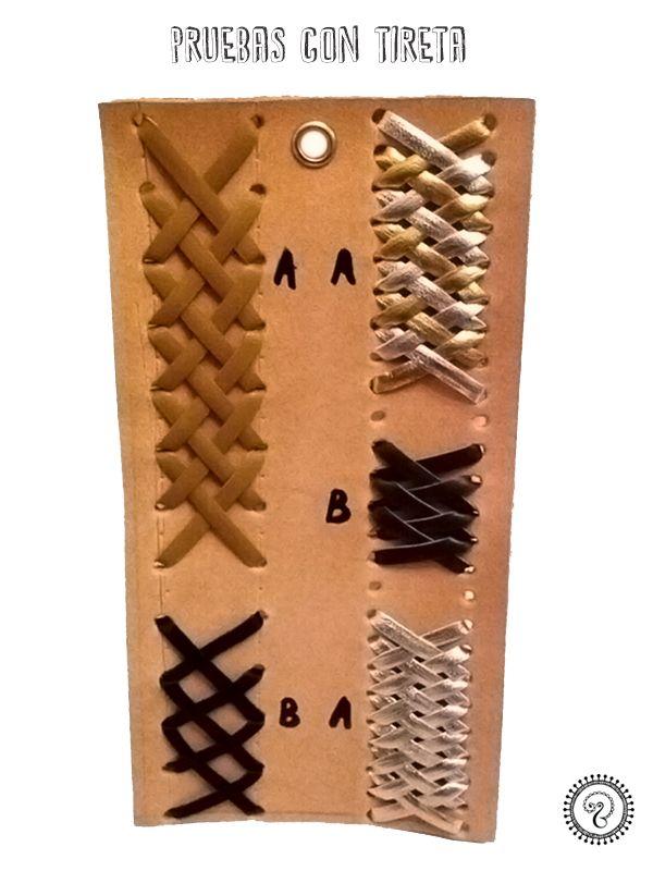 Pruebas de costurias con tireta en cuero. Leather lacing. Central lacing. #lacing #leathe #leatherwork #leathercraft #stitching #costura #cuero #tireta