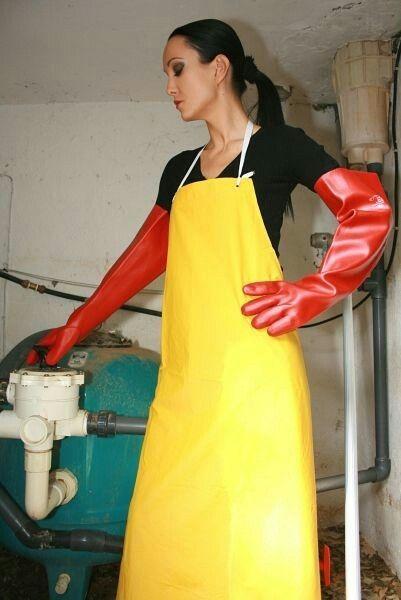 in gloves Girls rubber