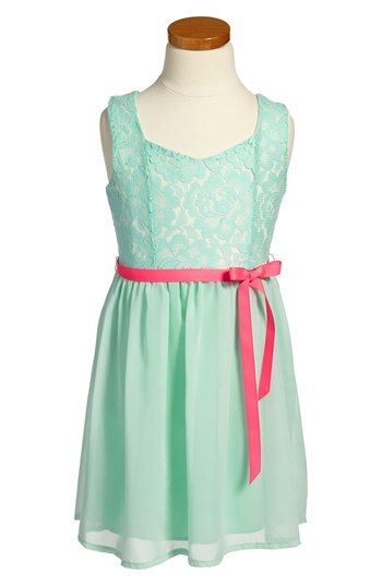 Zunie Lace & Chiffon Cutout Dress (Little Girls & Big Girls) | Nordstrom