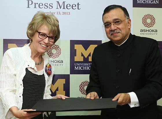 President Mary Sue Coleman and Pramath Raj Sinha of Ashoka University celebrate a new partnership!