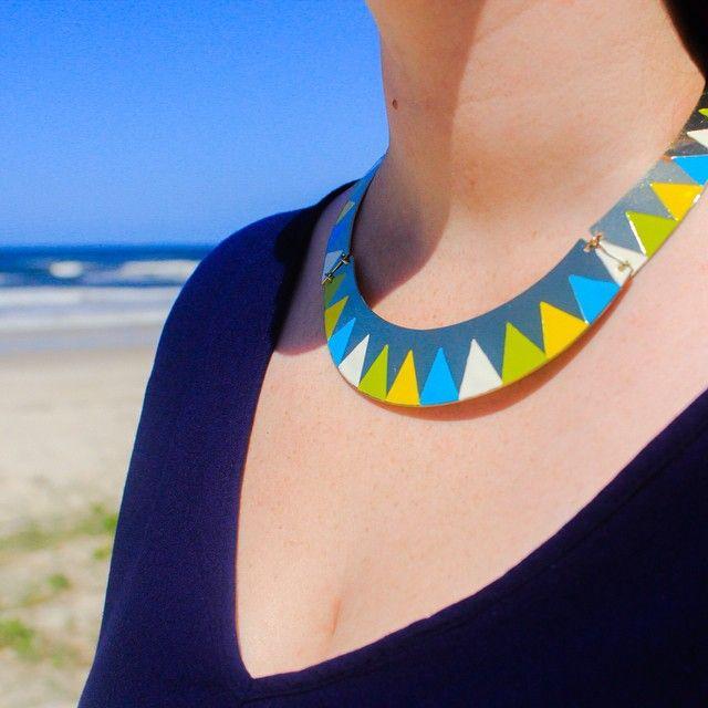#geometric #bold #metal #necklace #blue #green #yellow #silver #jewelleryofinstagram #beach #bebold #befierce #standout
