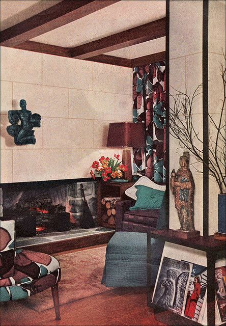 1950 Armstrong Temlock Walls. Chocolate brown and peacock blue, bold  geometric prints in a