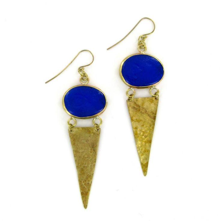 Metho Earrings blue by Made Kenya | ☆ Brass and silver plated jewellery | Studio ArtStyles