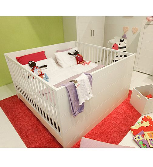 Crib for twins...never seen one of these before. Great mod look.