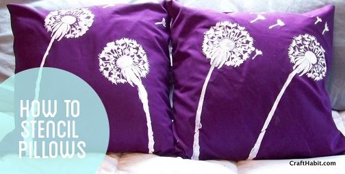 Stencil pillows how-to. I can re-create several of the West Elm or Ballard Designs pillows by doing this!